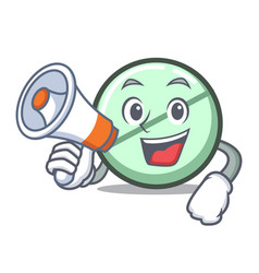 With megaphone drug tablet character cartoon vector