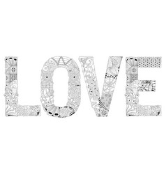 word love for coloring decorative vector image vector image