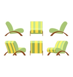 Armchair with wooden armsets and striped vector image vector image