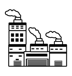 building industry factory chimney outline vector image vector image