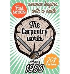 Color vintage Carpenter poster vector image
