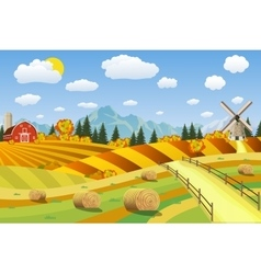Countryside landscape with haystacks on fields vector image vector image