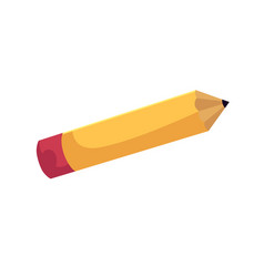 flat cartoon school yellow colored pencil vector image