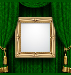 green curtain with a gold frame vector image vector image