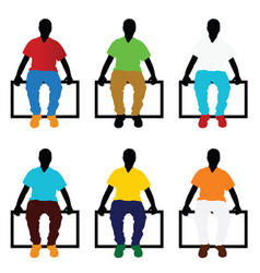 man silhouette sitting set in color vector image vector image