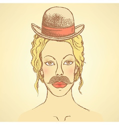 Sketch cute woman with hat and mustache vector image