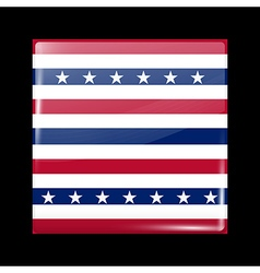Stars and Stripes Flag Glossy Icon Square Shape vector image vector image