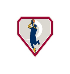 Basketball Player Jump Shot Ball Shield Retro vector image vector image