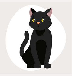 cat breed cute pet black portrait fluffy young vector image vector image