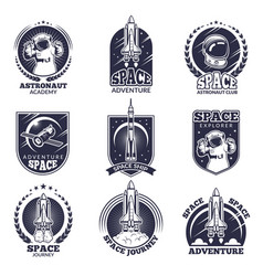 monochrome labels for astronauts badges vector image vector image