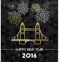 New year 2016 london uk tower bridge travel gold vector