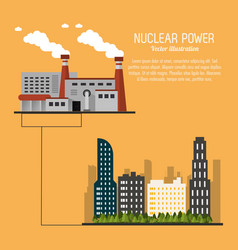 nuclear plant power city urban trees icon vector image