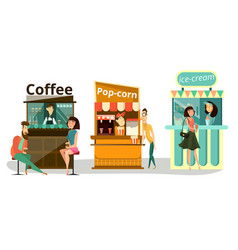 street food icons flat set vector image vector image