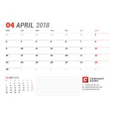 calendar template for april 2017 business planner vector image