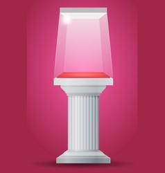 showcase on column pedestal vector image