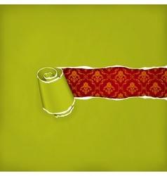 Torn paper green vector image vector image