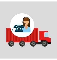 Call centre woman working truck delivery logistic vector