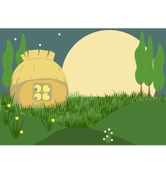 Evening in the village vector image vector image