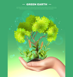 realistic hand plants ecology vector image