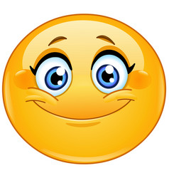 smiling female emoticon vector image vector image