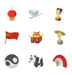 Tourism in China icons set cartoon style vector image vector image