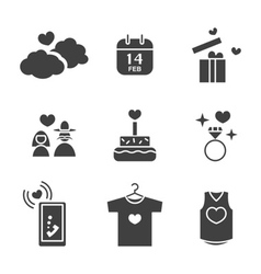 Valentines day Love and Wedding icons set vector image