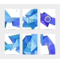Abstract blue user interface template set vector