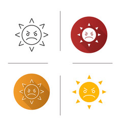 angry sun smile icon vector image