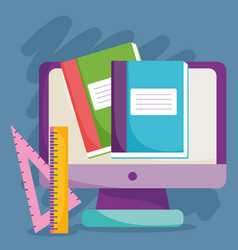 back to school computer books and ruler vector image