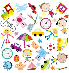 Background for kids with different kind of toys vector image