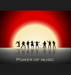 band show on red sunset background festival vector image