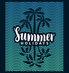 banner on tourism theme with palm tree and sea vector image