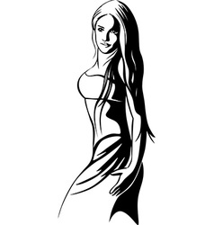 Beautiful dancer - black outline vector
