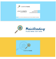 beautiful search house logo and business card vector image