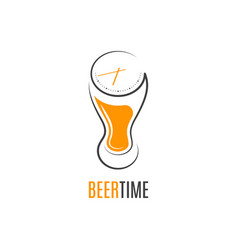 beer glass time concept design on white background vector image