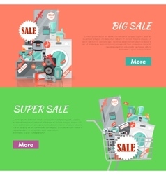 Big Super Sale Banners Set Household Appliances vector