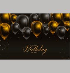 Black and golden happy birthday balloons card vector