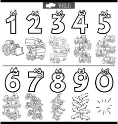 black and white educational numbers set vector image