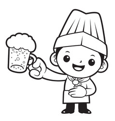 black and white head cook mascot is holding the vector image