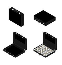 black briefcase set vector image