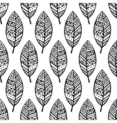 Black line ethic mexican leaf seamless pattern pr vector