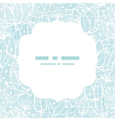 Blue lace flowers textile frame square pattern vector