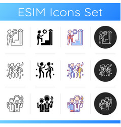 Business culture icons set vector