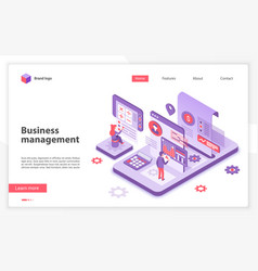 business management landing page template vector image