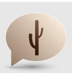 Cactus simple sign Brown gradient icon on bubble vector
