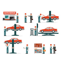 Car repair auto service set auto mechanics in vector