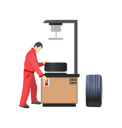Car tire production machine mechanic in overalls vector