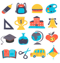cartoon back to school icon set vector image