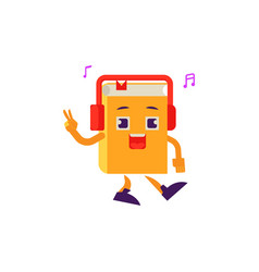 cartoon book character dancing headphones vector image