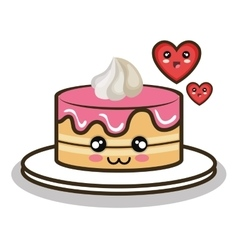 Cartoon cake love dessert design vector